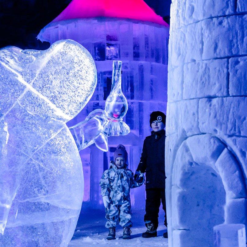 Выставка ледяных скульптур Мууми-троллей