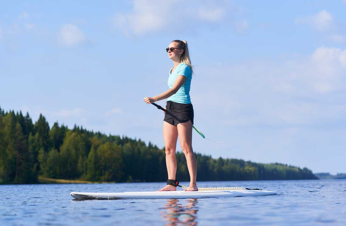 SUP boarding is a way to admire views from the lake.