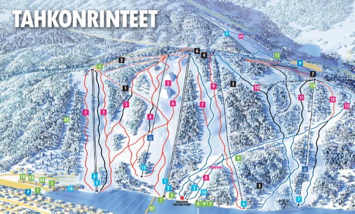 Tahkon rinnekartta slopes