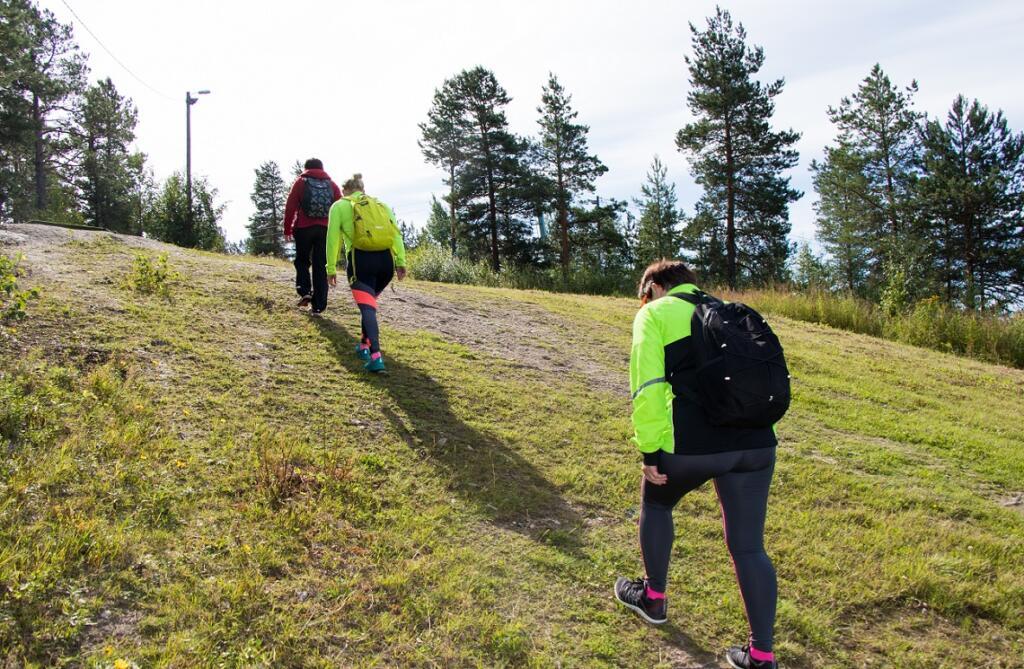 Paloisvuorelle saavuttaessa pyörät jätettiin mäen alle ja ryhmä kipaisi jalan mäen päälle.