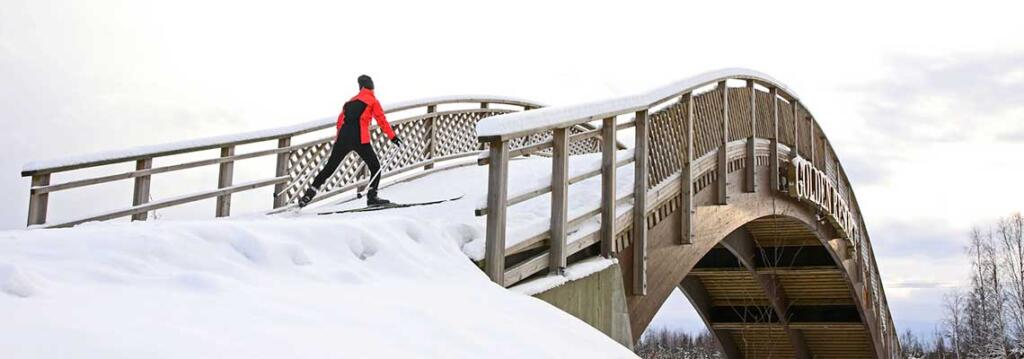 Ladulle tehty silta tien yli.
